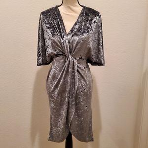 Zara Crush Velvet Silver Dress